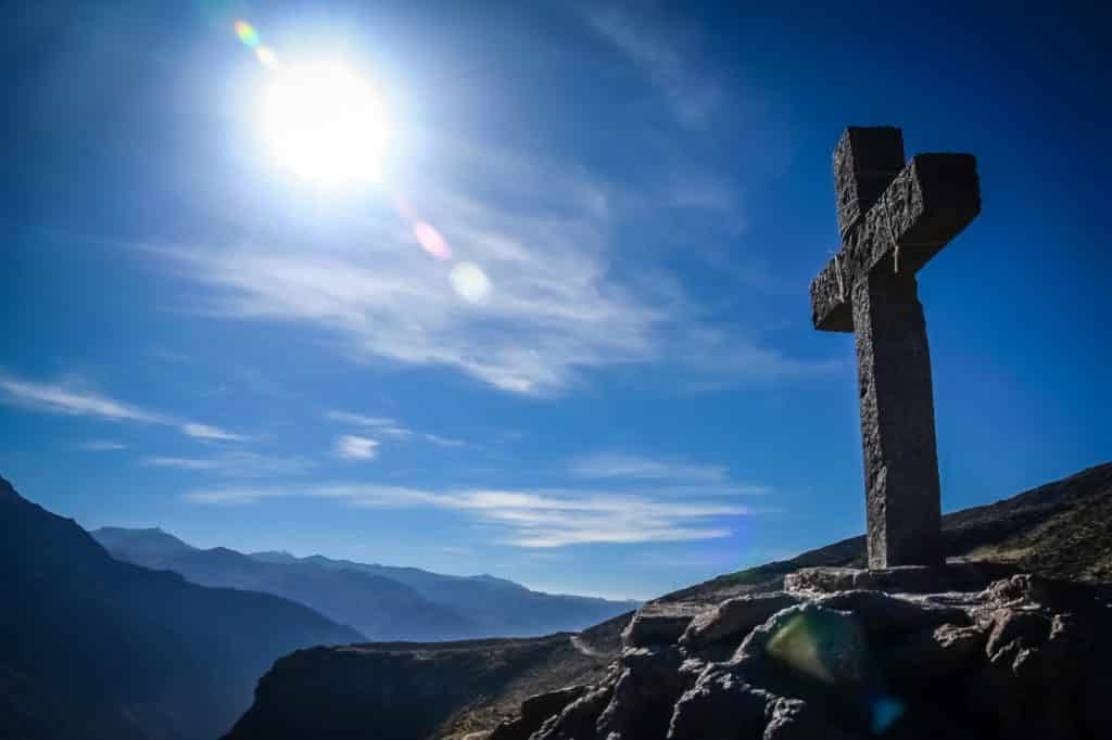 Cross in Colca Canyon in Peru
