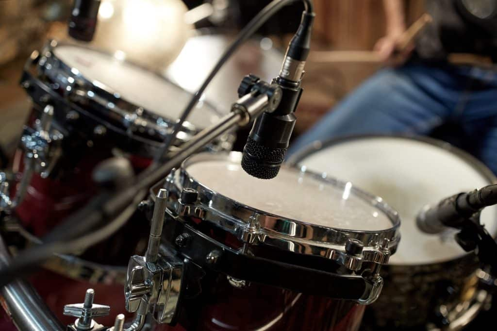 drums and microphone at music studio